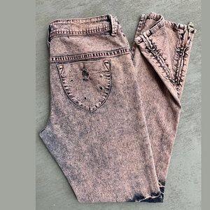 Dereon Distressed Black/Rose Ankle-zip Denim Jeans